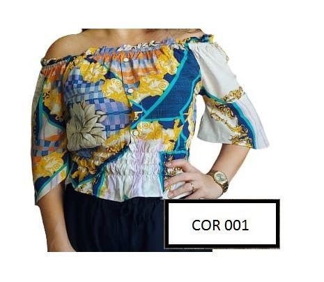 Blusa Cropped Ciganinha Lastex Viscose - Varias Cores