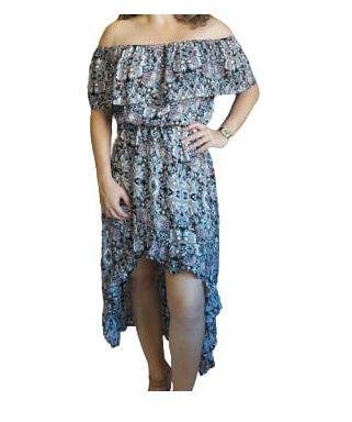 Vestido Estampado Curto Frente e Calda Atras - Varias Cores