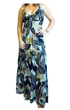 Vestido Estampado Longo Trançado nas Costas - Abstract