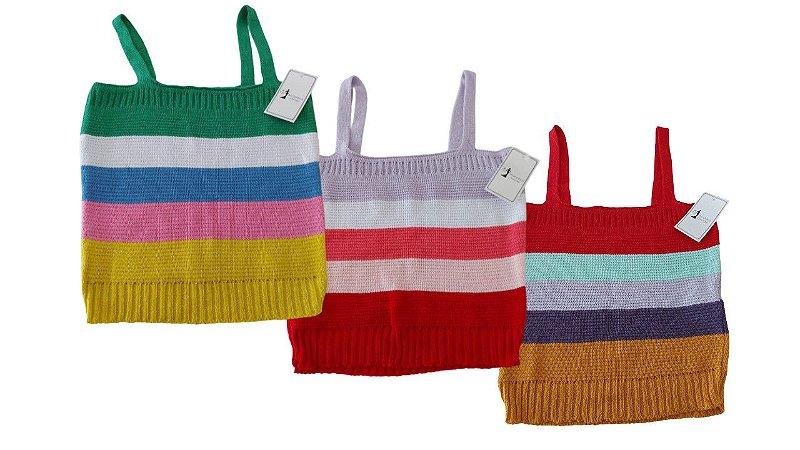 Blusa Cropped Tricot Alça Decote Reto