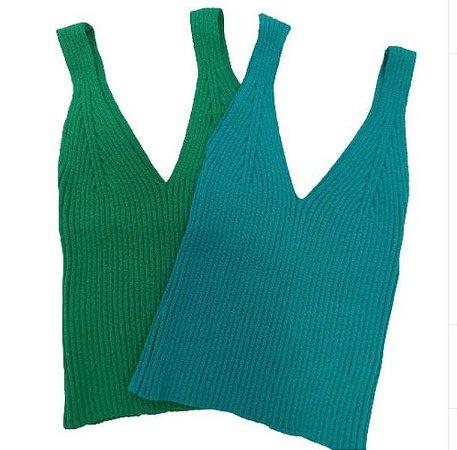 blusas em Tricot Modal - Verde Bandeira