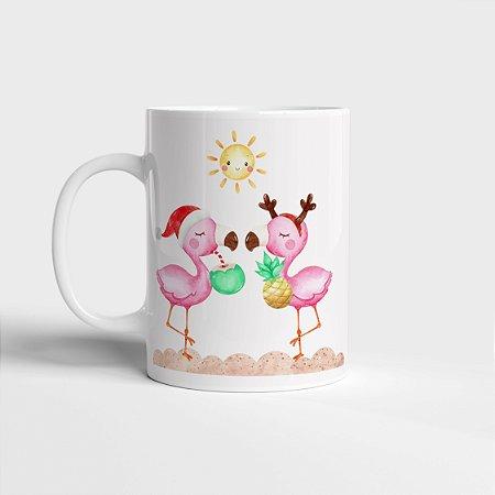 Caneca Flamingos no Natal