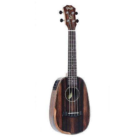 Ukulele Seizi Bora-Bora Plus – Pineapple Concert Elétrico Bag - Ebony