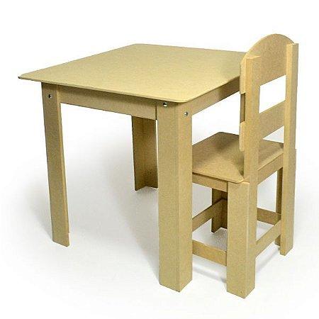 Mesa Infantil Abre Tampo Com 1 Cadeira Mdf Cru