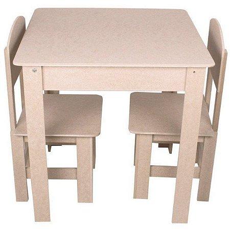 Mesa Infantil Abre Tampo Com 2 Cadeiras Mdf Cru