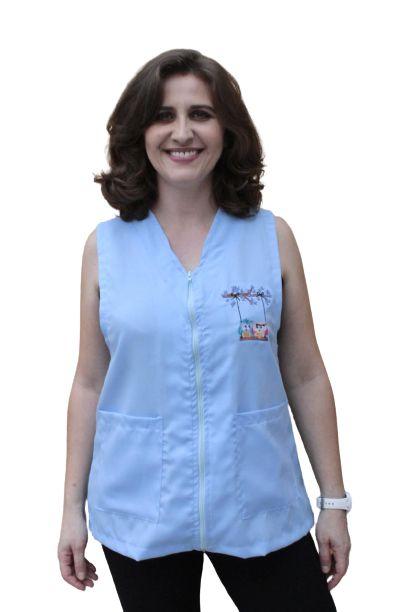 Avental Ametista professora, com ziper, bordado lateral nas cores Azul ou Branco