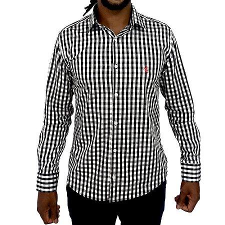 Camisa Slim Fit Mini Xadrez Preto e Branco
