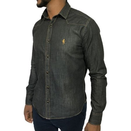 Camisa Jeans Black Stoned