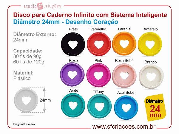 Disco para Caderno Infinito com Sistema Inteligente Diâmetro 24mm - Desenho Coração - Cores