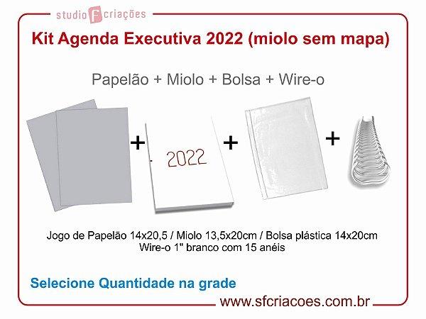"""Kit Agenda Executiva 2022 - SEM MAPA - Modelo LP (miolo + papelão + bolsa canguru + wire-o 2x1 1"""")"""