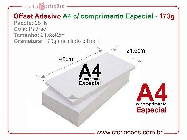 Pct 25 fls papel offset adesivo - A4 c/ comprimento Especial - 21,6x42cm