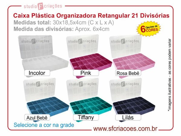 Caixa Plastica Organizador - Retangular c/ 21 Divisórias