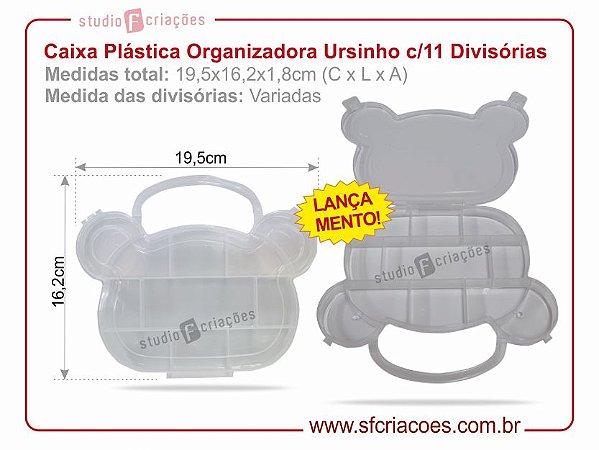 Caixa Plastica Organizadora - Formato de Ursinho c/ 11 Divisórias
