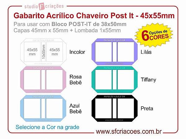 Gabarito Acrílico Chaveiro Post It - 45x55mm
