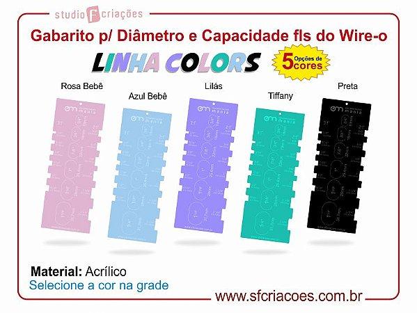 Régua Gabarito para Diâmetro e Capacidade de folhas do Wire-o - Linha COLORS