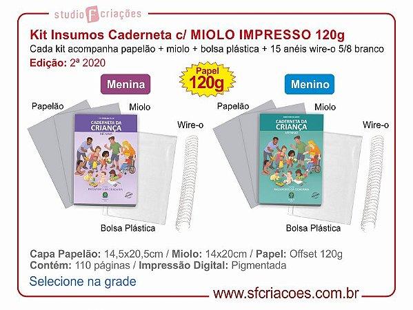KIT INSUMOS c/ MIOLO IMPRESSO para Caderneta (2ª Edição 2020) - 120g