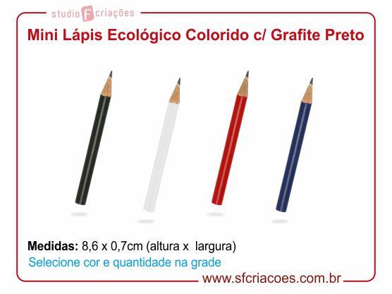 Mini lápis ecológico colorido c/ grafite preto