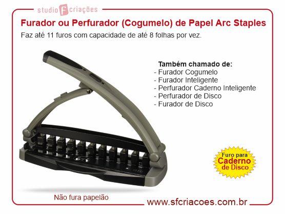 Furador Arc Staples - Furador Cogumelo para Caderno de Disco (Caderno Inteligente)