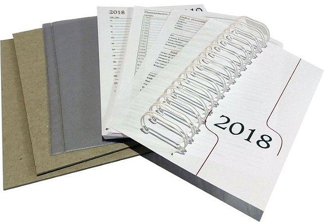"""50 Kit Agenda Executiva 2018 (miolo + papelão + bolsa canguru + wire-o 2x1 1"""")"""