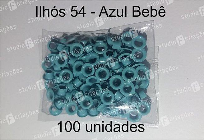 100 Ilhos 54 cor azul bebe