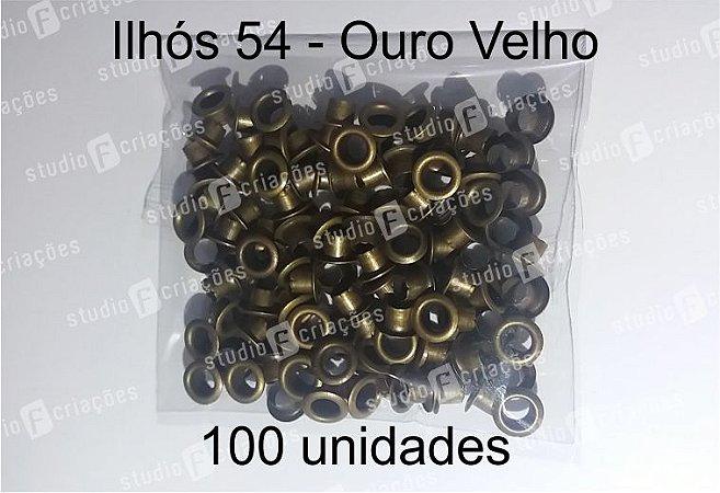 100 Ilhos 54 cor ouro velho