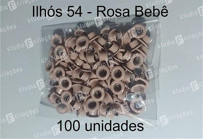 100 Ilhos 54 cor rosa bebe