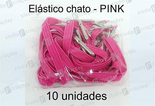 10 Elástico CHATO pink com terminal para agenda (medida 23cm)