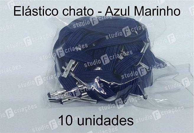 10 Elástico CHATO azul marinho com terminal para agenda (medida 23cm)