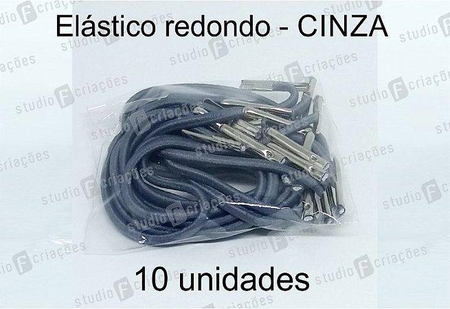 10 Elástico REDONDO cinza com terminal para agenda (medida 23cm)