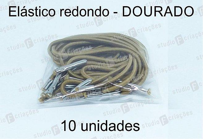 10 Elástico REDONDO dourado com terminal para agenda (medida 23cm)