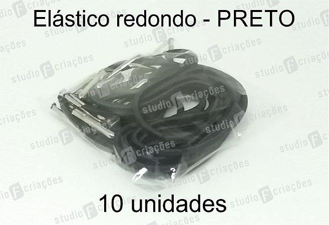 10 Elástico REDONDO preto com terminal para agenda (medida 23cm)