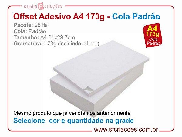 25 fls papel offset adesivo - tamanho A4