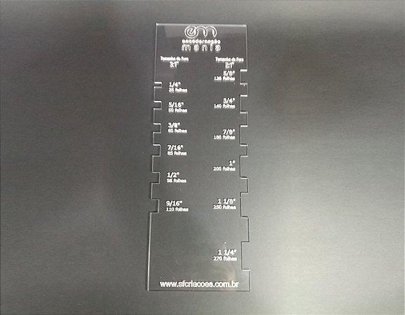 Regua acrilica gabarito de escala para tamanhos de wire-o