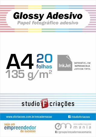 Papel fotográfico A4 glossy adesivo 135g - pacote 20 fls