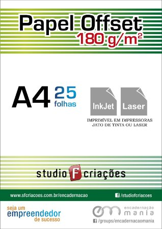 25 fls OFFSET A4 - 180g