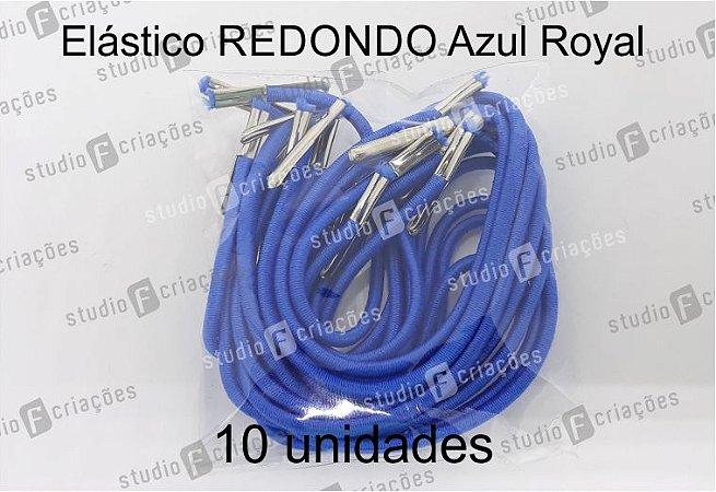 10 Elástico REDONDO azul royal com terminal para agenda (medida 23cm)