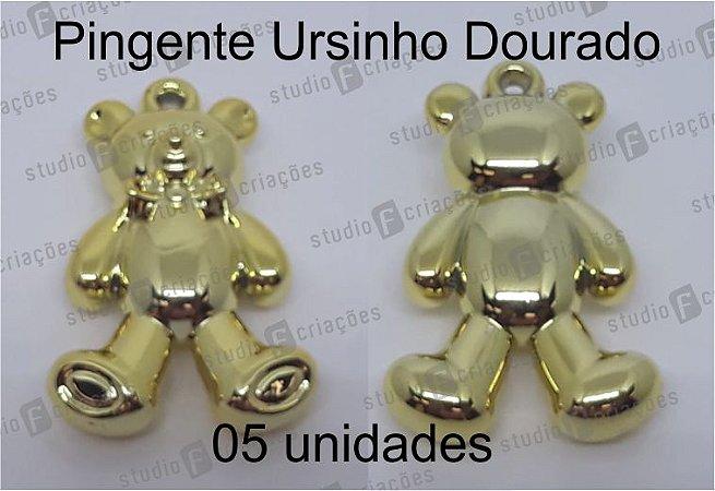 05 Pingente Ursinho Dourado 4x2cm (pacote com 05 unidades)