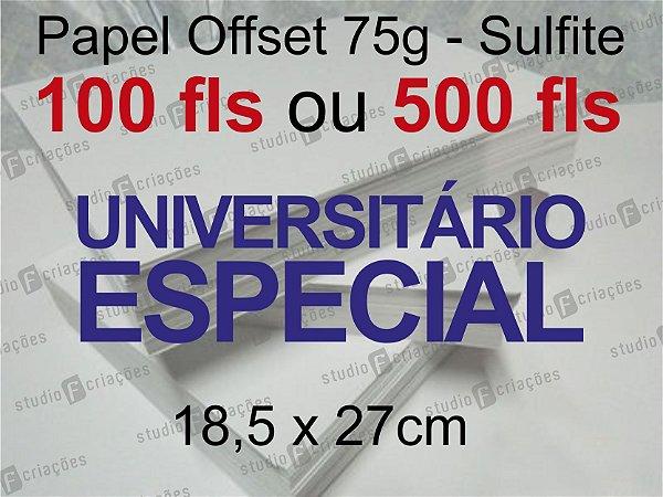 Miolo papel offset - tamanho UNIVERSITARIO ESPECIAL 18,5x27 - 75g