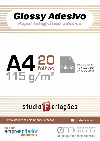 Papel fotográfico A4 glossy adesivo 115g - pacote 20 fls