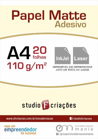 Papel fotográfico A4 matte adesivo 110g - pacote 20 fls
