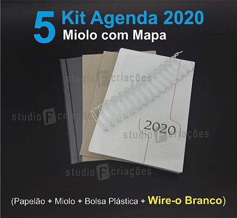 """05 Kit Agenda Executiva 2020 com mapa (miolo + papelão + bolsa canguru + wire-o BRANCO 2x1 1"""")"""