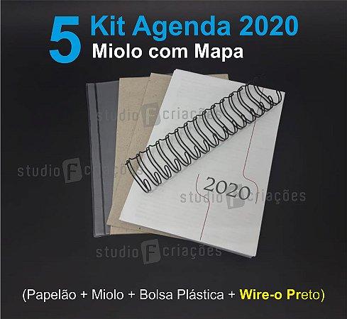 """05 Kit Agenda Executiva 2020 com mapa (miolo + papelão + bolsa canguru + wire-o PRETO 2x1 1"""")"""