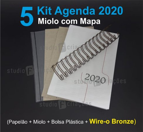 """05 Kit Agenda Executiva 2020 com mapa (miolo + papelão + bolsa canguru + wire-o BRONZE 2x1 1"""")"""