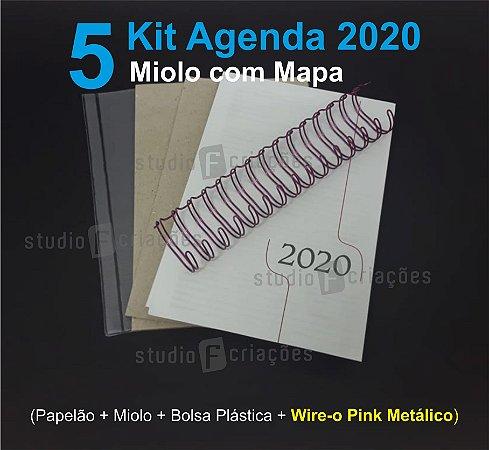 """05 Kit Agenda Executiva 2020 com mapa (miolo + papelão + bolsa canguru + wire-o PINK METALICO 2x1 1"""")"""