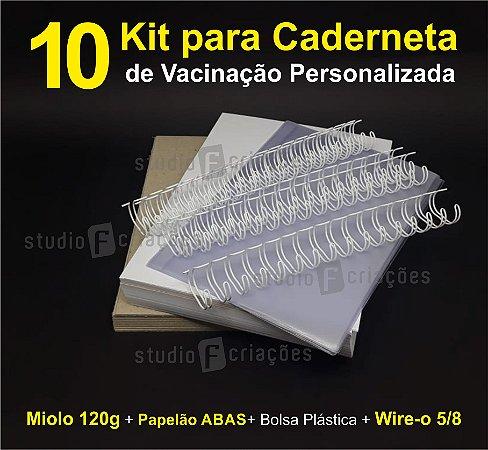 10 Kit Insumos Caderneta 120g (papelao com abas e wire-o 5/8)