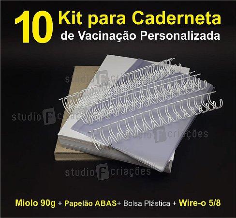 10 Kit Insumos Caderneta 90g (papelao com abas e wire-o 5/8)