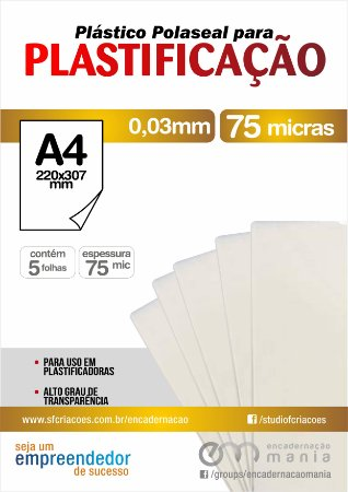 05 fls Plastico para Polaseal A4 para plastificacao 0,03 mm - 75 micra