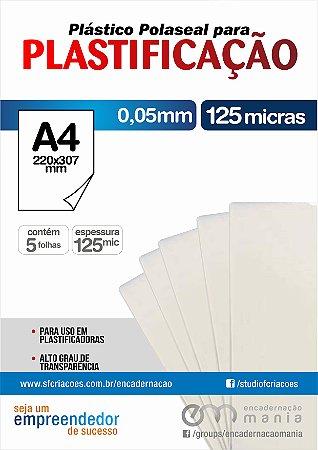 05 fls Plastico para Polaseal A4 para plastificacao 0,05 mm - 125 micra
