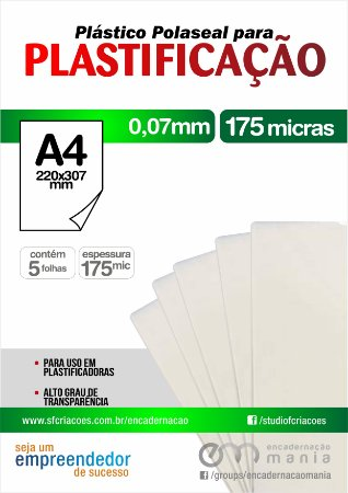 05 fls Plastico para Polaseal A4 para plastificacao 0,07 mm - 175 micra