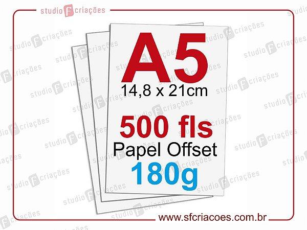 500 fls papel offset - tamanho A5 - 180g
